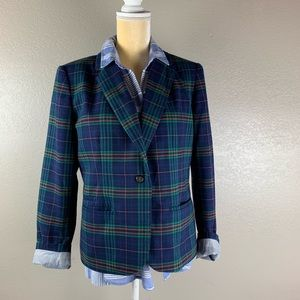 Merona Blue Tartan Plaid Striped Boyfriend Jacket